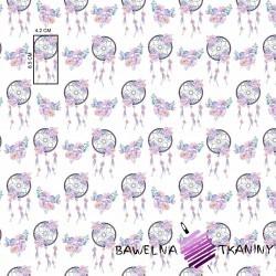 Bawełna łapacz snów różowo fioletowy na białym tle