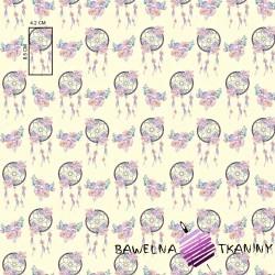 Bawełna łapacz snów różowo fioletowy na ecru tle