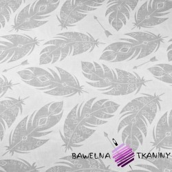 Cotton aztec gray feathers on a white background