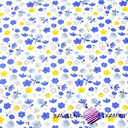 Cotton yellow & navy meadow on white background