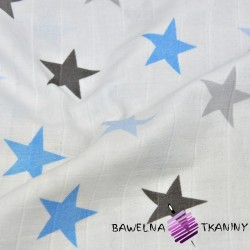 Double gaze cotton blue and gray stars on white background