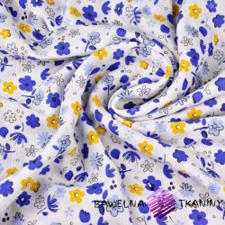 Double gaze cotton navy and yellow flowers on white background