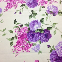 Cotton purple roses on ecru background