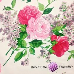 Bawełna kwiaty róże czerwone na ecru tle