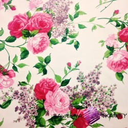 Cotton red roses on ecru background 220cm