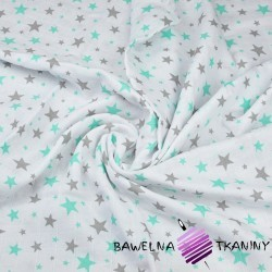 Double gaze cotton gray & mint stars on white background