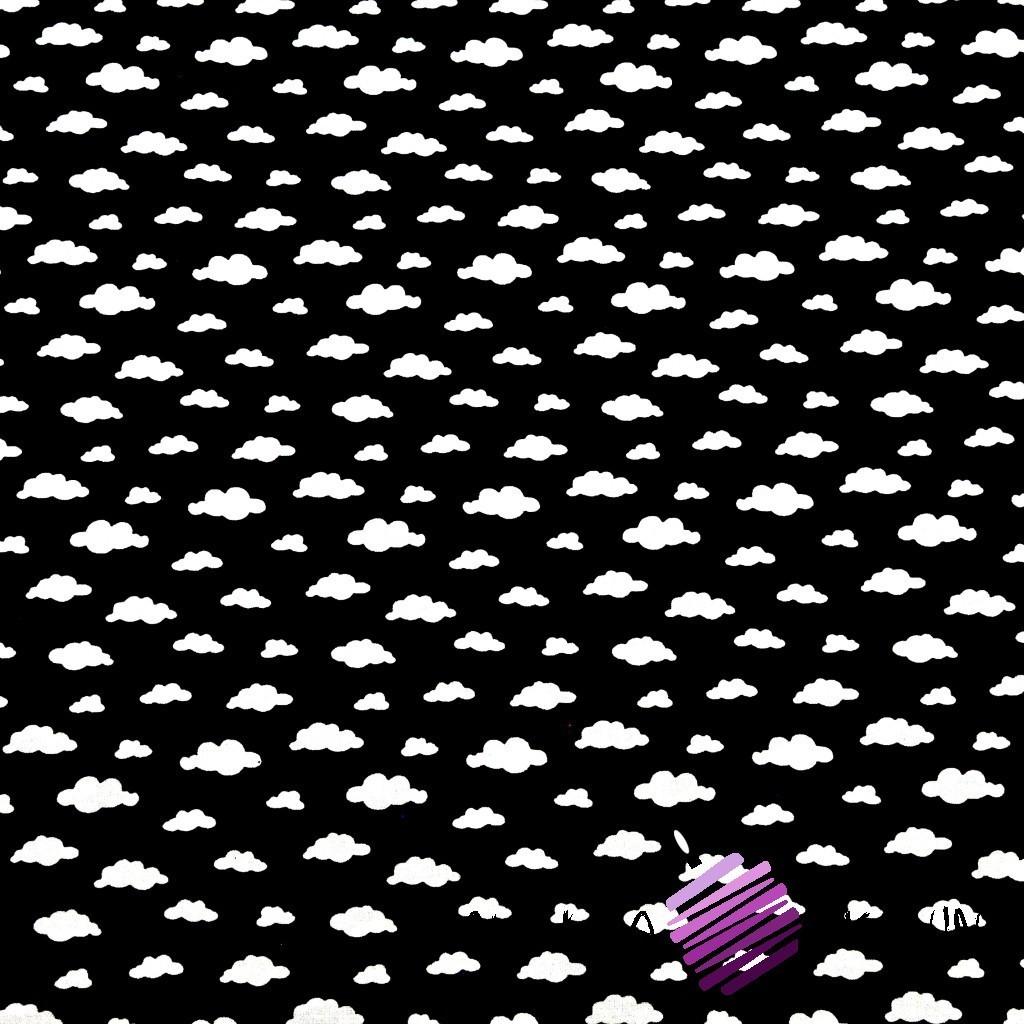 Bawełna chmurki MINI białe na czarnym tle