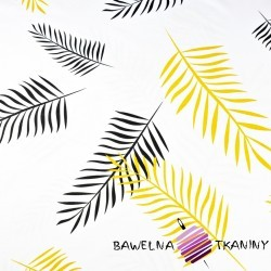 Cotton black & yellow feathers on a white background