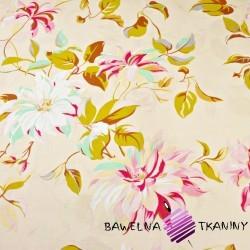 Bawełna kwiaty clematis na ecru tle