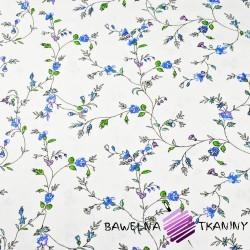 Bawełna kwiaty goździki niebieskie na białym tle - 220cm