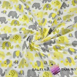 Bawełna Słonie indyjskie szaro żółte na białym tle