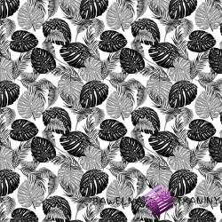 Bawełna liście czarno szare na białym tle