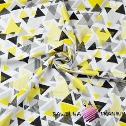 Bawełna trójkąty w kropki żółto szare na białym tle
