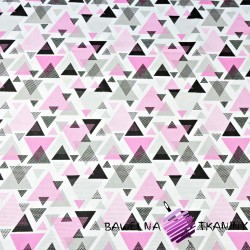 Cotton triangles in pink-gray dots on white background