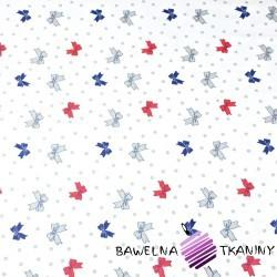 Bawełna kokardki z kropeczkami na białym tle