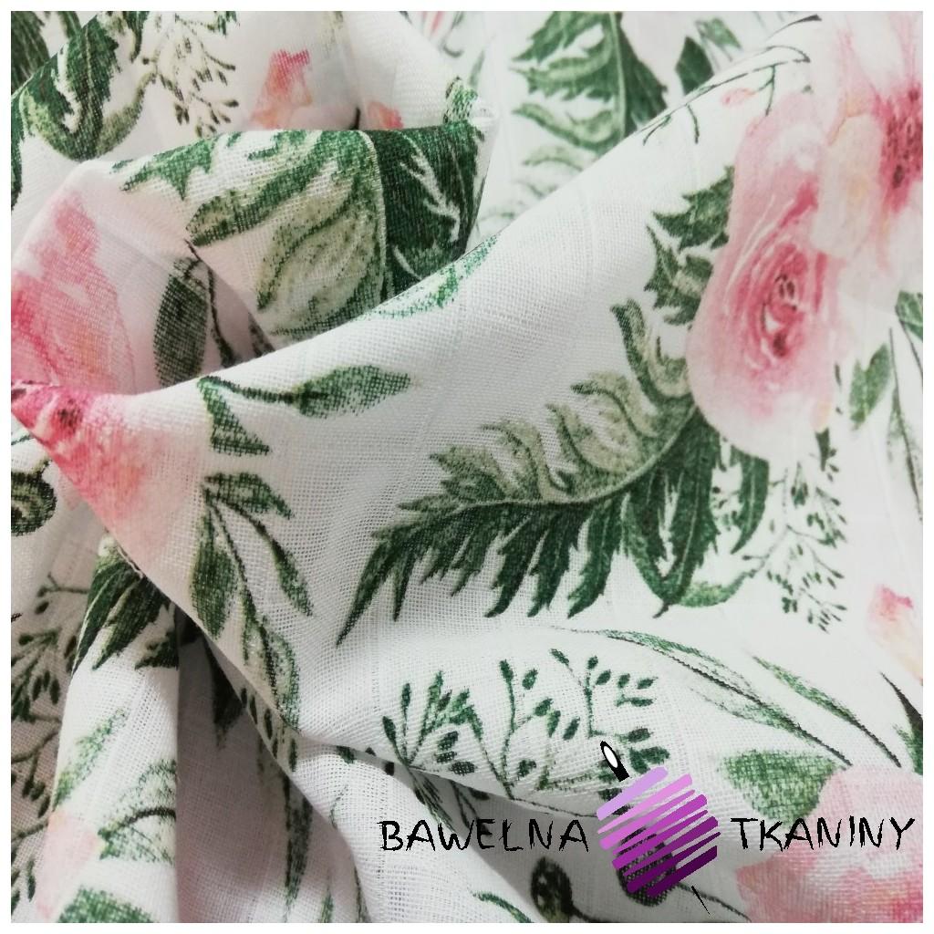 Muślin bawełniany eustoma różowa na białym tle
