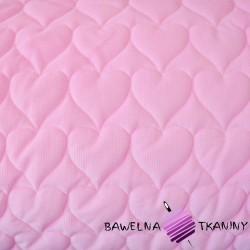 Velvet pikowany jasny różowy 3 - serduszka