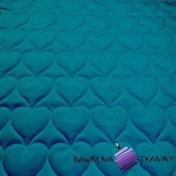 Velvet pikowany ciemny turkus 10 - serduszka