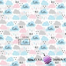 Bawełna chmurki hello niebiesko-szaro-różowe na białym tle