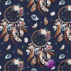 Bawełna łapacz snów brązowy na granatowym tle