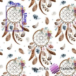 Cotton brown dream catcher on white background