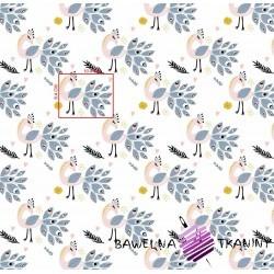 Bawełna pawie z szarym na białym