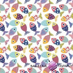 Bawełna rybki wzorzyste kolorowe na białym tle