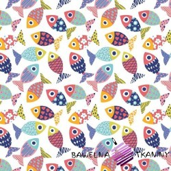 Cotton fishes patterned colorfull on white background