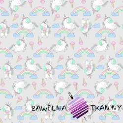 Cotton unicorns with balloons on gray background