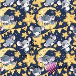 Bawełna myszki szare na granatowym tle