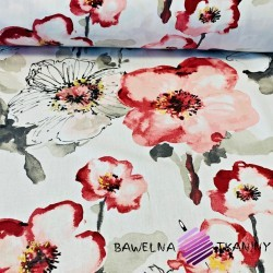 Curtain Fabric flowers printed with poppies