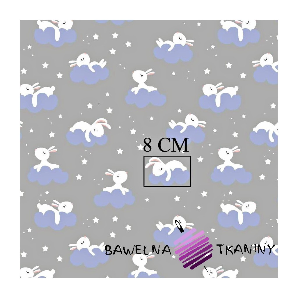 Cotton white rabbits on clouds on navy gray background