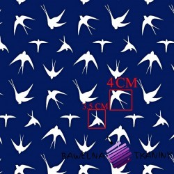 Cotton white swallows on a navy background