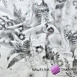 Muslin cotton gray fern leaves on a white background