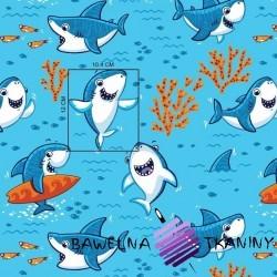 Bawełna rekiny na niebieskim tle