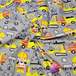 Bawełna budowniczy żółty na szarym tle