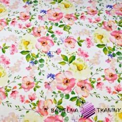 Bawełna kwiaty jabłoni na białym tle 220cm