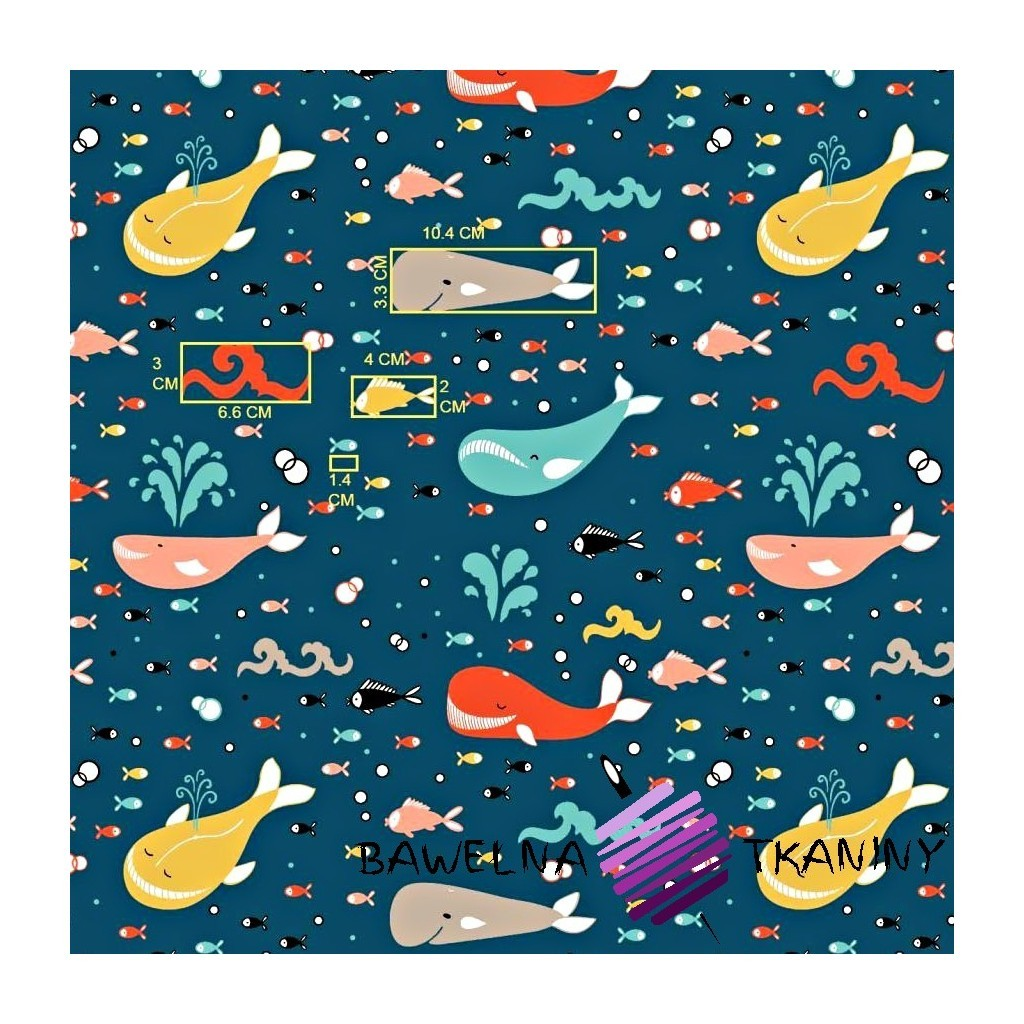 Bawełna wieloryby kolorowe na ciemno niebieskim zielony tle