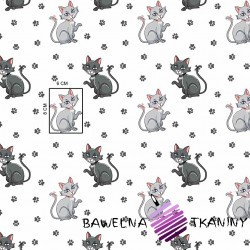 Cotton kitties with paws on a gray background