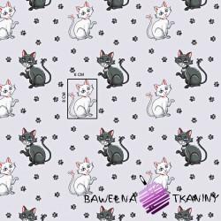 Bawełna kotki z łapkami na jasno szarym tle