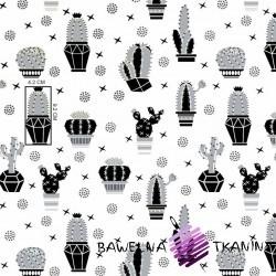 Bawełna kaktusy szaro czarne na białym tle