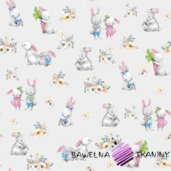 Bawełna zakochane króliki na jasnym szarym tle