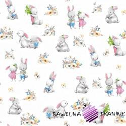 Bawełna zakochane króliki na białym tle