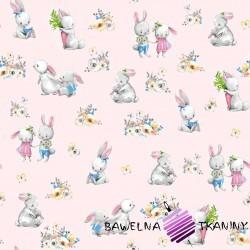 Bawełna zakochane króliki na różowym tle