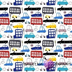 Cotton colorful cars on a white background