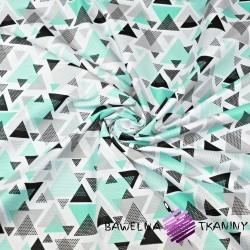 Bawełna trójkąty w kropki miętowo szare na białym tle