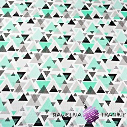 Cotton triangles in mint-gray dots on white background