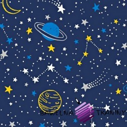 Cotton yellow & blue universe on navy blue background