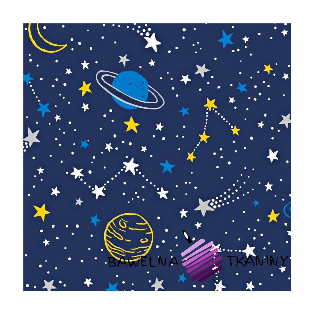 Bawełna galaktyka żółto niebieska na granatowym tle