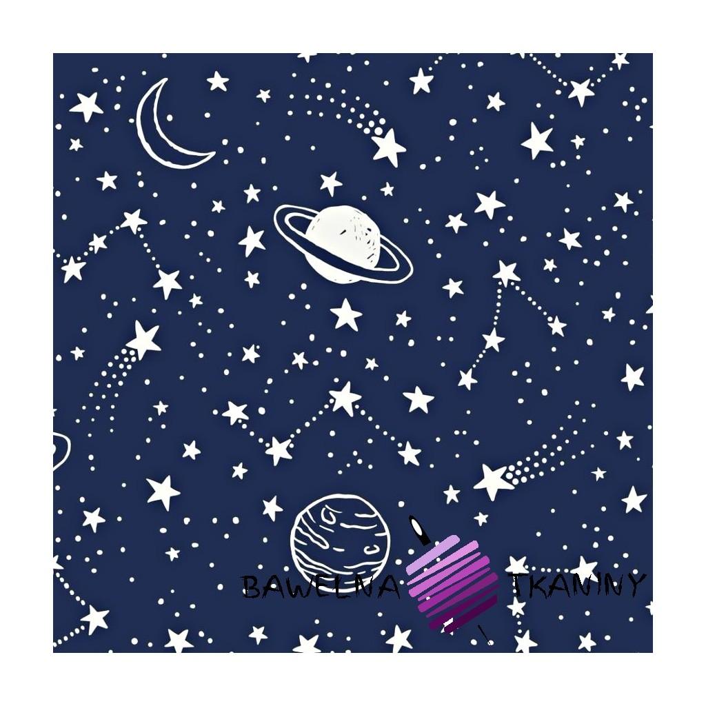 Bawełna galaktyka biała na granatowym tle
